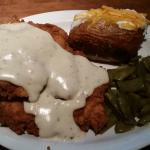 Chicken fried chicken, loaded baked potato, green beans