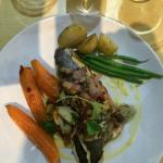 Sea bass with glazed vegetables