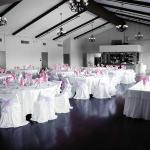 Our banquet hall that is set up for a wedding reception.