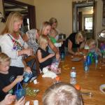 Kids making crafts in the dining area