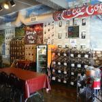 Decorative seating area and Jones sodas.