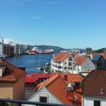View of wharf/Bryggen area/fish market from balcony of 1 bedroom apt