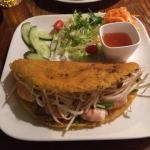 Banh Xeo -Vietnamese crispy pancake filled with prawns and chicken, spring onion, beansprouts.