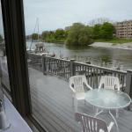 Indoor and outdoor dining on the river