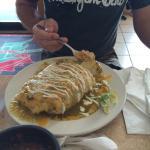 Wet chicken burrito and veggie nachos