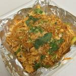 The huge portion of chicken pad Thai.