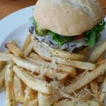 Burger with garlic fries