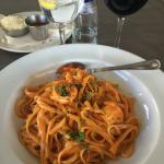 Delicious prawn linguine
