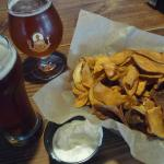 Tasty Craft Beer and Sweet Potato Chips