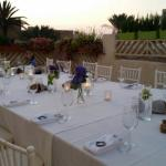 Table laid at sunset