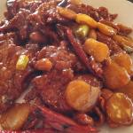 Kung Pao Beef ($7.19), includes rice.
