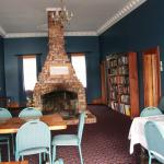 The dining area with a lovely big open fire