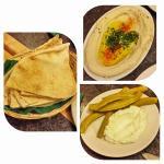 Hommus, flat breadand gherkins with cream cheese