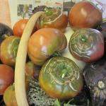 Panier de légumes frais (aubergines et tomates noires de crimée)