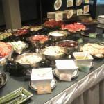 Many kinds of fruit and salads