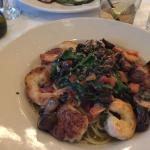 Grilled shrimp & scallops over pasta