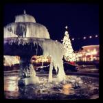 Christmas time 2013, frozen winter-wonderland outside the Monaco theater!