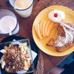 Smoothies, French toasts and fruit bowl