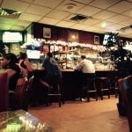 Inside the pub. Had a traditional linear bar.