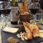 Delicious cheese plate and a fabulous bottle of Barbera ❤️