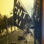 Picture of a union flag in the streets of Barcelona in 1937.