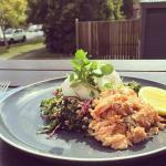 quinoa breaky with smoked trout