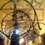 Cool old bicycles hanging from ceiling