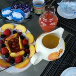 Every morning a variety of fruits, yoghurts and juices