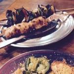 Espetinho de frango + vegetariano + farofa