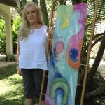 """Student with wearable art silk scarf 15x60"""""""