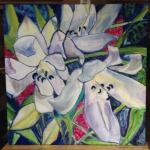 """""""Lilies and Ginger"""" Silk 35x35"""" by Barbara Rabkin©"""