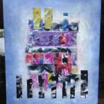 """Sanctuary"" multimedia collage silk, oil, acrylic on canvas 47x40""©"