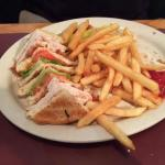turkey club sandwich and fries