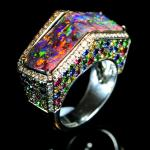 Boulder opal ring inspired by the Rialto Bridge in Venice