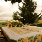 Nice wine from the agriturismo with a spectular view!