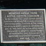 A plaque describing the roller coaster at Memphis Kiddie Park in Cleveland area