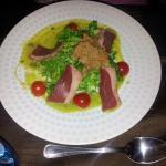 salade d'effiloché de canard crème d'avocat