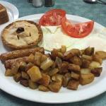 Meat Pie, Sausages & Eggs Breakfast Special - Broadway Restaurant, Timmins ON