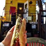 The de-railer dog by the train car. Great location, good food and friendly service. Win win all