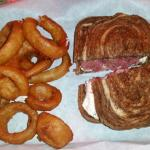 Hi-Ho Bar & Grill and their Corned Beef & Cream Cheese on Marble Rye with Beer Batter Onion Ring