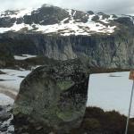 On the hike to Trolltunga - snowy paths