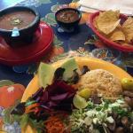 Chips, Salsa, Beans & Tortillas, Carnitas Tacos & Beet Salad