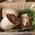 burrito and side salad