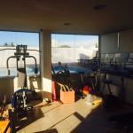 Gimnasio y vista desde el último piso del hotel
