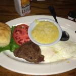The Breakfast steak Amazing, my hubby enjoyed the Pecan Pie!