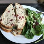 Veggie sandwich on cranberry and wild rice bread with spinach salad