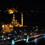 A night view towards the main attractions in Istanbul