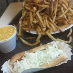 Family Fries with a side of cheese and a Chili Coleslaw hotdog! Yum!
