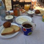Morning Breakfast ~ fresh greek yogurt, coffee, tea, eggs, jam, bread, butter, juices, honey, fe