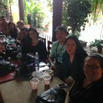 enjoying smoothies and coffee after a workshop in our gorgeous little patio